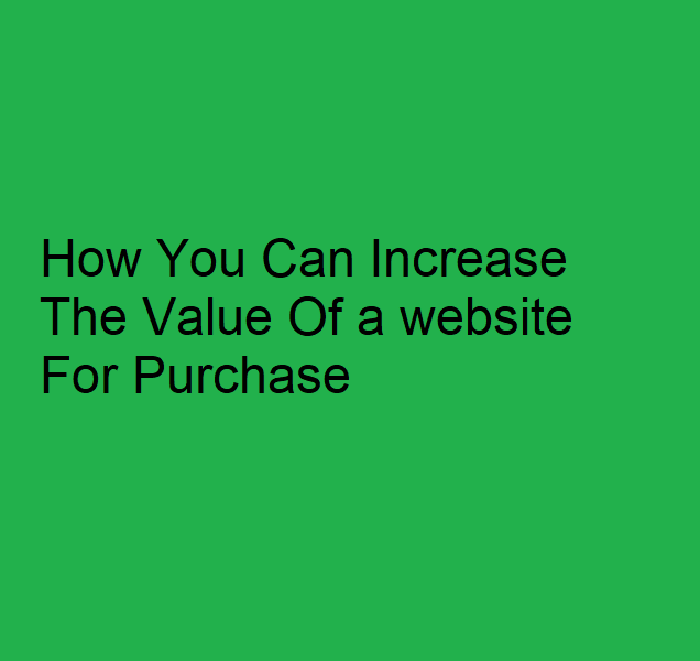 How You Can Increase The Value Of a website For Purchase